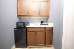 Wet bar with microwave, mini fridge, sink and coffee maker